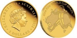 Чемпионат мира по футболу в Бразилии 2014 отобразили на золотых и серебряных монетах