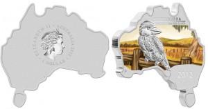 Австралийская монета в виде карты материка