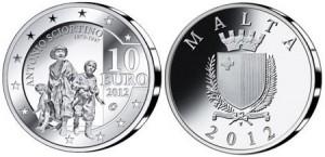 Антонио Шортино отчеканен на монетах Мальты