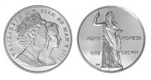 Богиня Юнона на монетах Острова Мэн