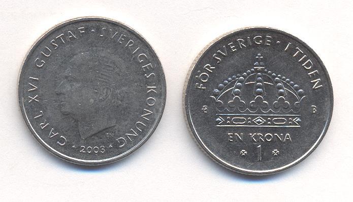 Швеция 1 крона 1980 карл xvi густав km 852 медь плакированная медно-никелем 51-4312